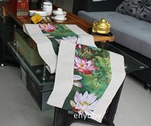 Tischläufer Bestickt Einfachheit Moderne Klassische Typ Stil Blume Bettläufer Baumwolle linenPastoral Lotus Floral
