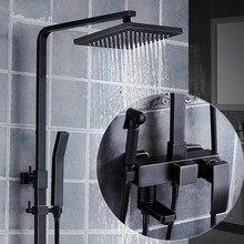"""Европейский стиль черный набор для душа настенный """" смеситель для душа в форме дождя кран с одной ручкой круглая головка с распылителем душ"""
