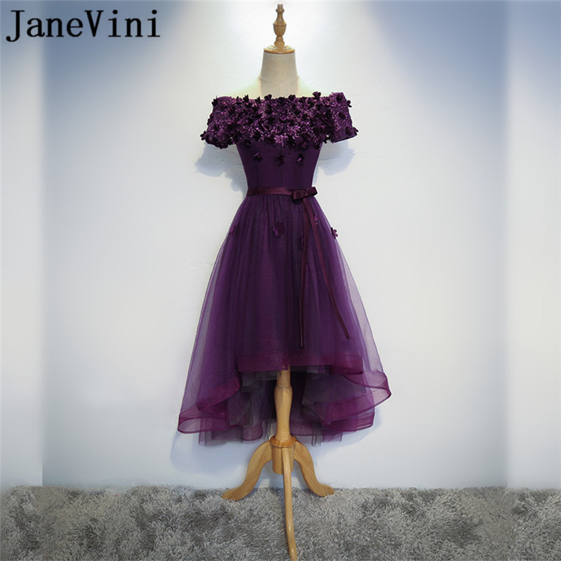 JaneVini 2018 Grape Purple High Low Bridesmaid Dresses Beaded Flowers Lace Short Front Long Back Boat Neck Wedding Party Dresses