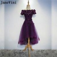 JaneVini 2018 Grape Purple High Low Bridesmaid Dresses Beaded Flowers Lace Short Front Long Back Boat Neck Wedding Party Dresses