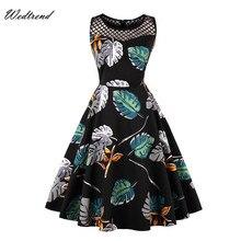 Фотография Wedtrend O-Neck Print Leaves Knee-Length Women Dresses Ladys Dress Holes Illusion 1950s 1960s Elegant Vintage Cheap Female Dress