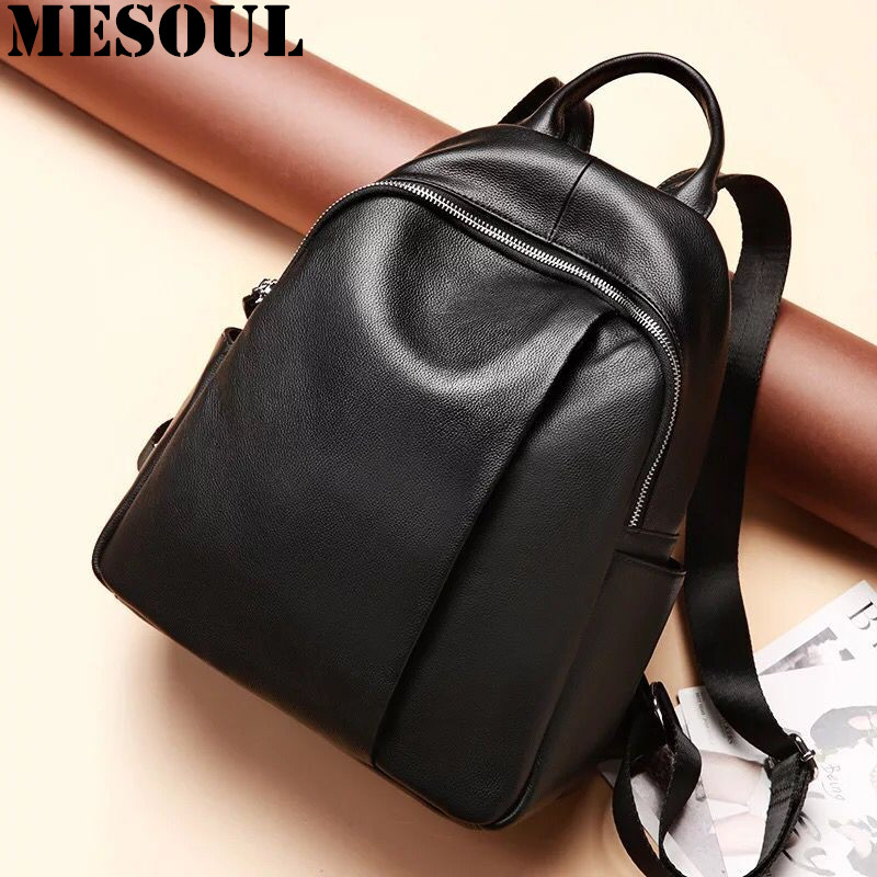 цены High Quality Genuine Leather Women Backpack Fashion Solid School Bags For Teenager Girls Shoulder Bag Casual Lady Black Backpack