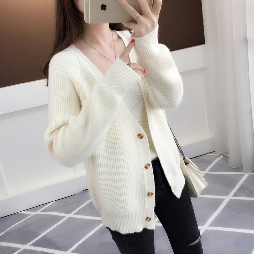 Taotrees Women Knitted Cardigans Simple Solid Sweater Open Stitch V Neck Mid-long Sweaters Knit Jacket White Cardigan For Female