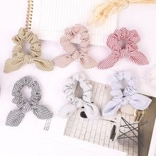 Women Girl Striped Hair Ring Rope Bow knot Scrunchies Ponytail Holder Tie Hair Scrunchies Bracelet Accessories