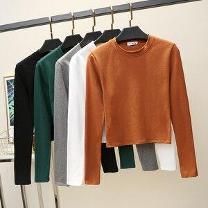 Image 5 - 기본 T 셔츠 여성 긴 소매 자르기 탑 2020 가을 티 셔츠 여성 한국어 스타일 T 셔츠 코 튼 새로운 탑스 짧은 Tshirt