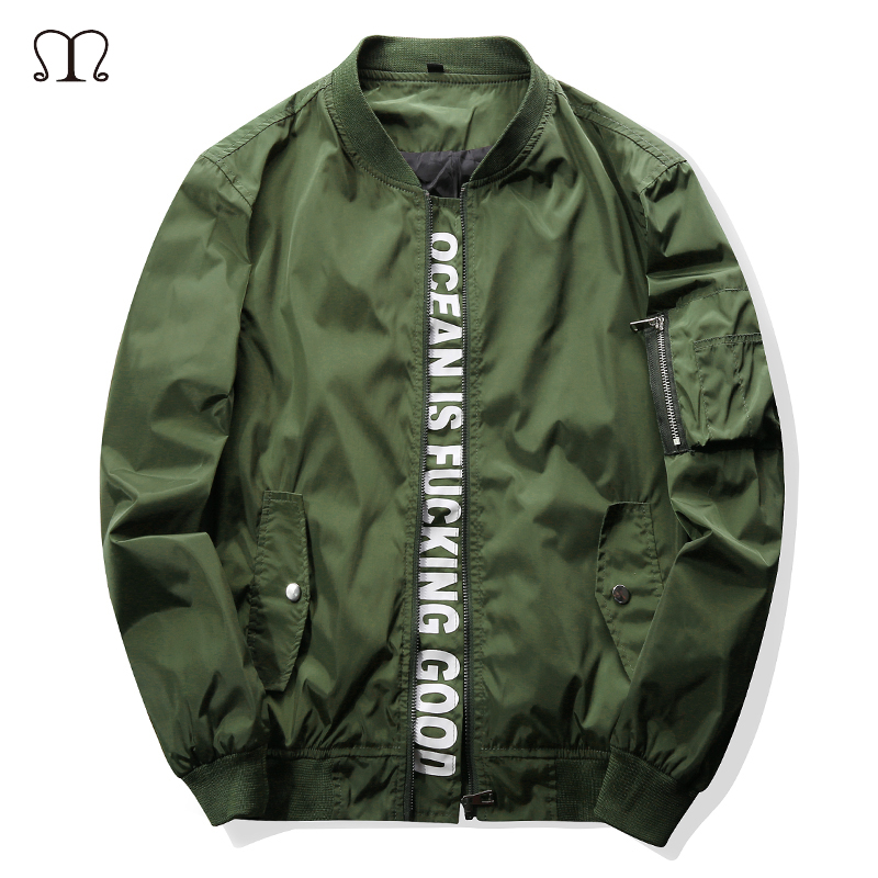 2017 New Men Bomber Jacket Hip Hop Patch Designs Army