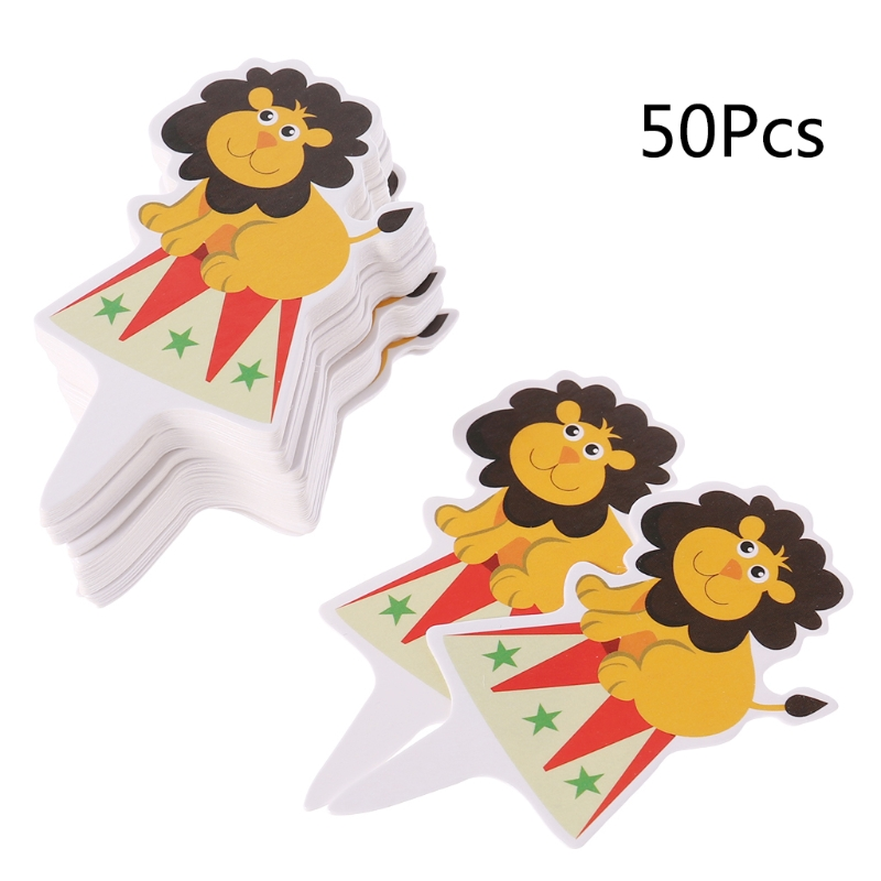 50pcs Circus Theme Party Cupcake Toppers Cute Animal Baby Shower Cake Topper