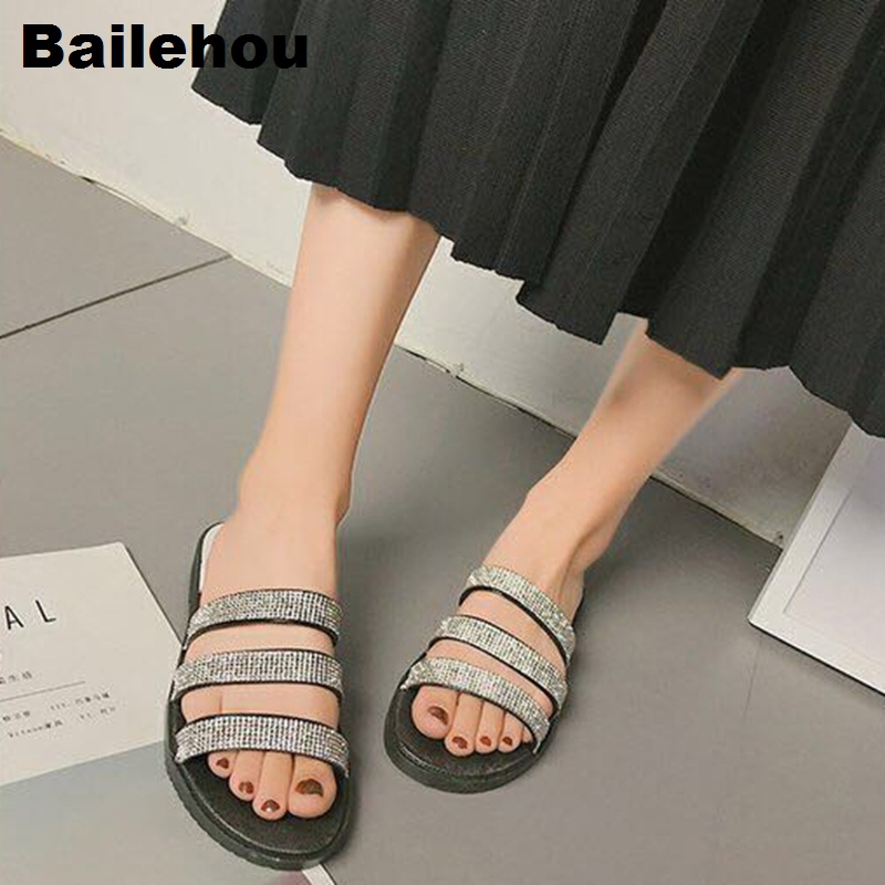 Bailehou Women Crystal Slippers Slip On Slides Beach Flip Flops Sandals Comfortable Home Indoor Slippers Flat Women Casual Shoes fashion women flat heels shoes slip on pointed toe flats fringed women shoes slippers casual flip flops sandals slides women page 4 page 5 page 5 page 2 page 2