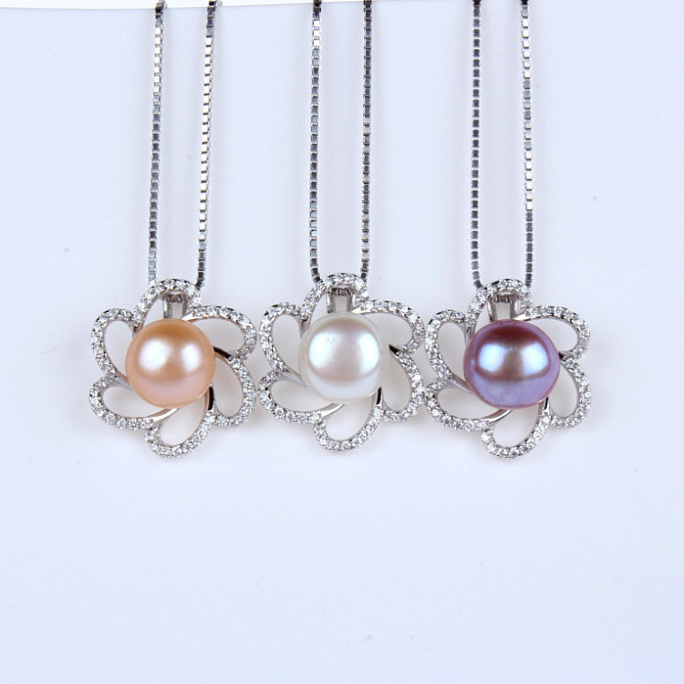 CHP30 women fine jewelry,beautiful small flower pendant with a pearl,925 sterling silver necklace for graceful lady graceful rhinestone snowflake pendant necklace for women