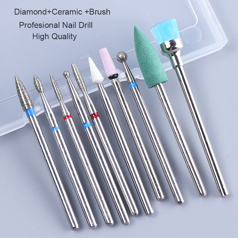Ceramic Nail Bits Cuticle Cleaning Diamond Electric Polishing Nail Drill Bit Set Milling Cutter Files Pedicure Tools CHHZ01-04 (3)