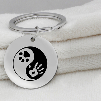 Yin Yang Paw Print Pendant Necklace Stainless Steel