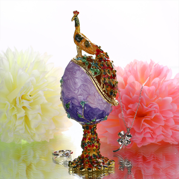 H&D Easter Day Gift Vintage Peacock Metal Crafts Purple Faberge Russia Eggs Figurine Jewelry Trinket Box Easter Jewelry Display