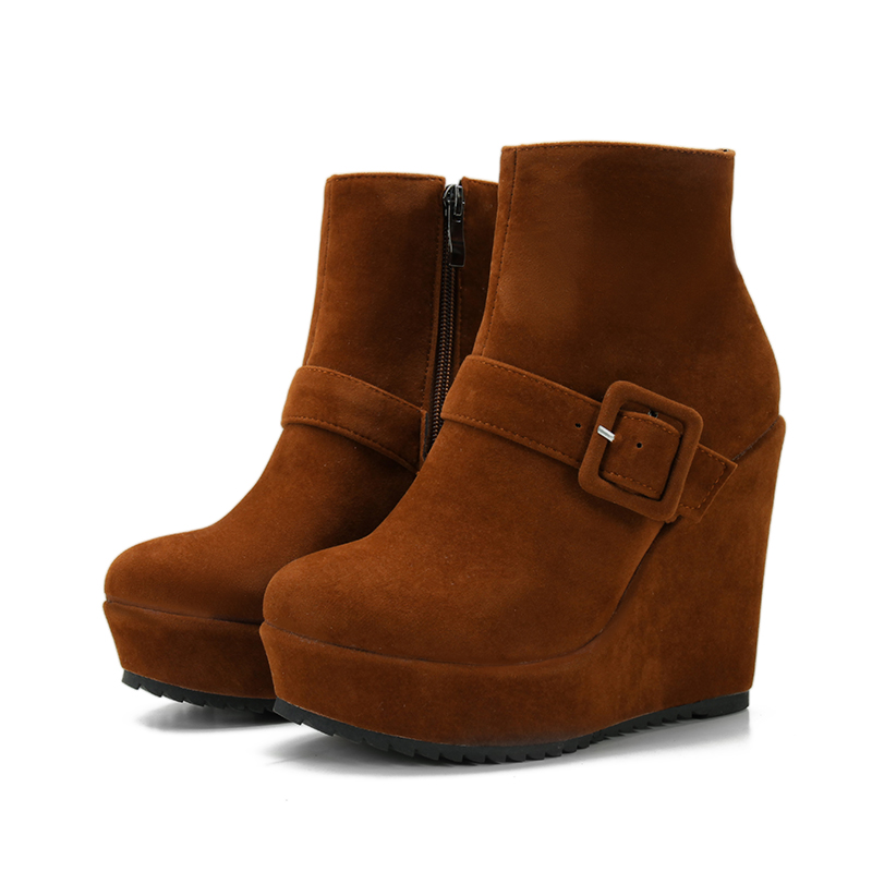 Big size 34-44 New Round Toe Buckle Boots for Women Sexy Ankle Boots Heels Fashion Winter Spring Autumn Shoes Casual Zip 6-30 масло массажное eo laboratorie eo laboratorie eo001lwlzf30
