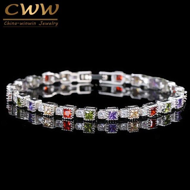 CWWZircons Mới Thời Trang DỰ TIỆC CƯỚI Trang Sức Hoàn Hảo Công Chúa Cắt Nhiều Màu Đá Cubic Zirconia Vòng Tay Lắc Tay Nữ CB093