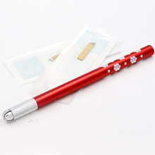 Red caneta tatuagem permanent makeup pen manual tebori microblading sobrancelhas tattoo pen with 2pcs blade free