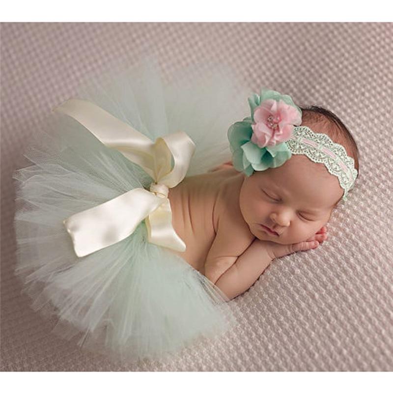 Newborn Baby Tutu Skirt Photography Props Peacock Handmade Crochet Beanie Beaded Cap Ball Gown