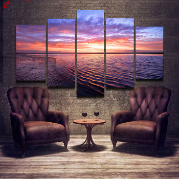 CLSTROSE Unframed 5 Pieces Landscape New Ocean Painting On Canvas For Home Decor Wall Art Home Decoration For Living Room