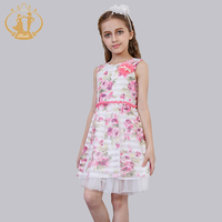 2016 Summer Dress Vestidos Multi Knee Length O Neck Sleeveless Cotton Dresses Beading Handamde Pearls Flower