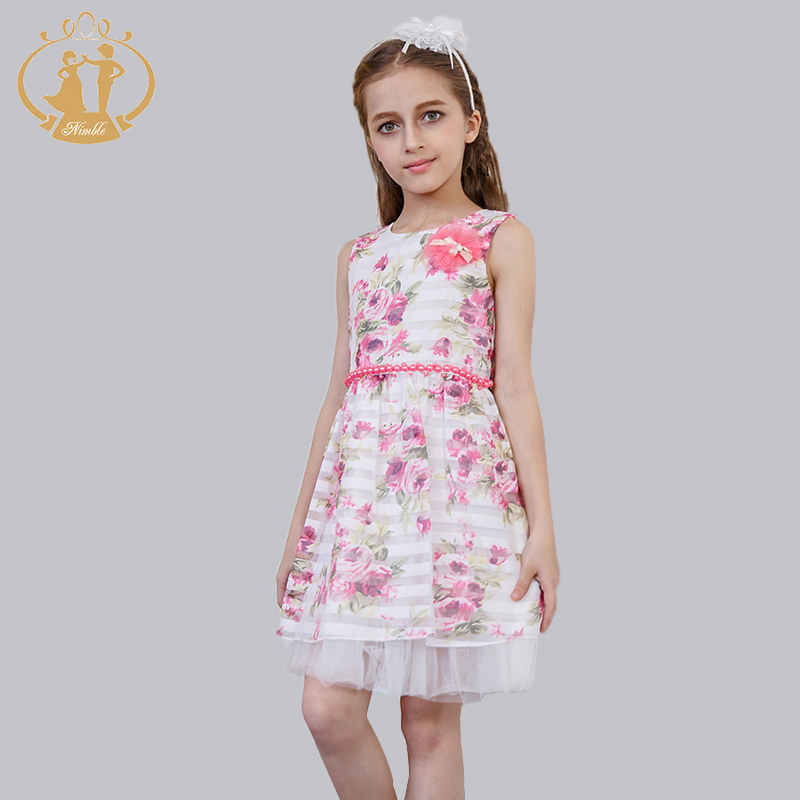 ФОТО Sunny  Girls Fashion Dresses Colorful Cotton  Flowers Size 4-12T Party Summer Girl Dress