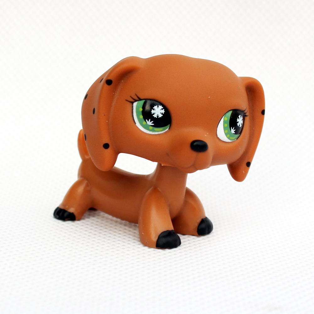 Rare pet shop lps toys DACHSHUND cute little brown sausage dog snowflake eyes old real kids toys Christmas present pet shop lps toys great dane dog 577 blue brown flowered eyes white puppy figure child toy without magnet dog gift