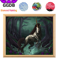 GGDB 5d Diy Diamond Painting Unicorn Of The Forest Full Rhinestone Square Diamond Crystals Drill Step