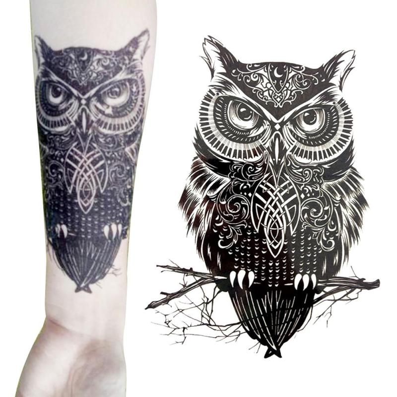 1 Piece Large Black Owl Arm Fake Transfer Tattoo Stickers