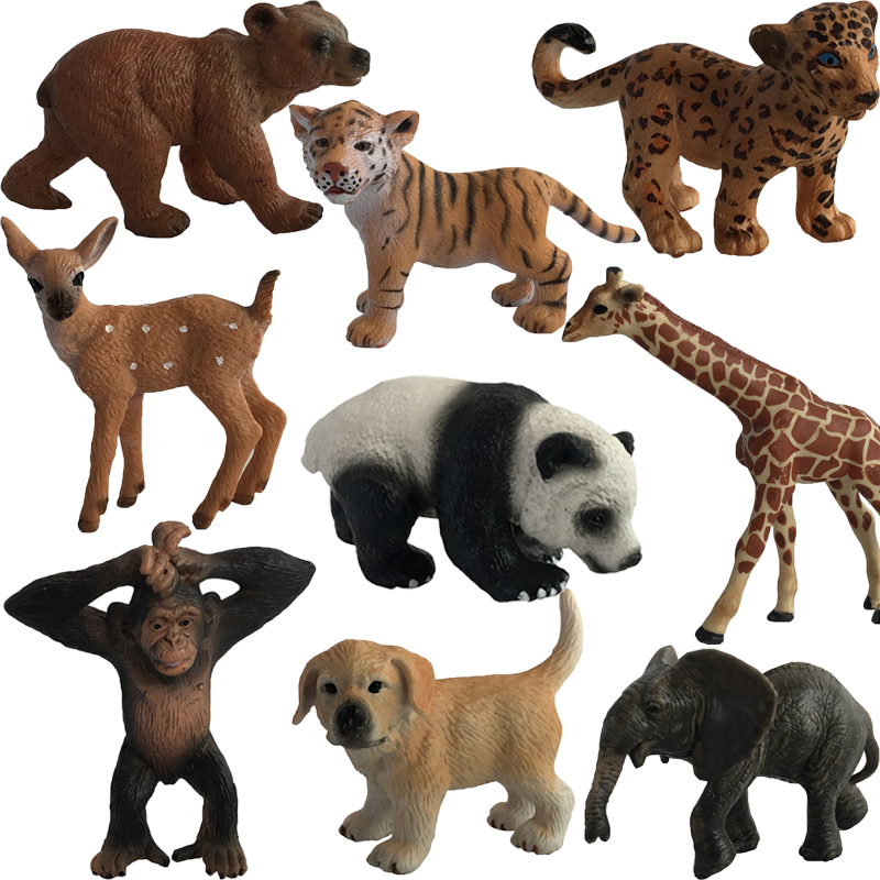 Mini Animal Model Action Figure Plastic Tiger Panada Elephant Orangutan Lion Bear Ornaments Toys #E