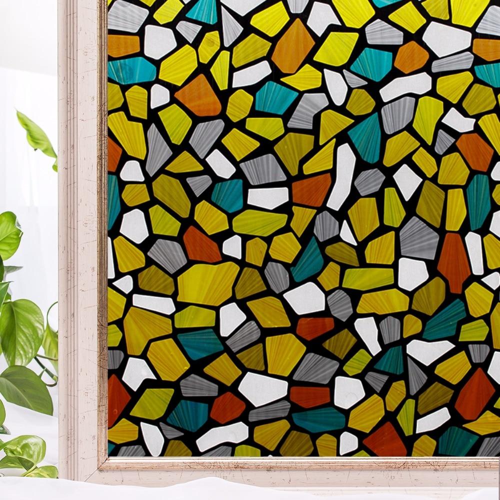 Cottoncolors coloré dessin maison fenêtre film de couverture non colle 3d statique décoratif vitres autocollants taille 90x200 cm