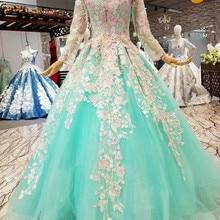 AXJFU AXJUF Princess long sleeve green lace evening dress