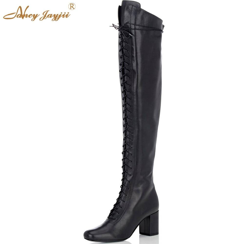 Nancyjayjii Women Winter Black Pleather&Dark Grey Flock Round Toe Square Heels Knee High Boots Shoes for Woman Plus Size 4-16