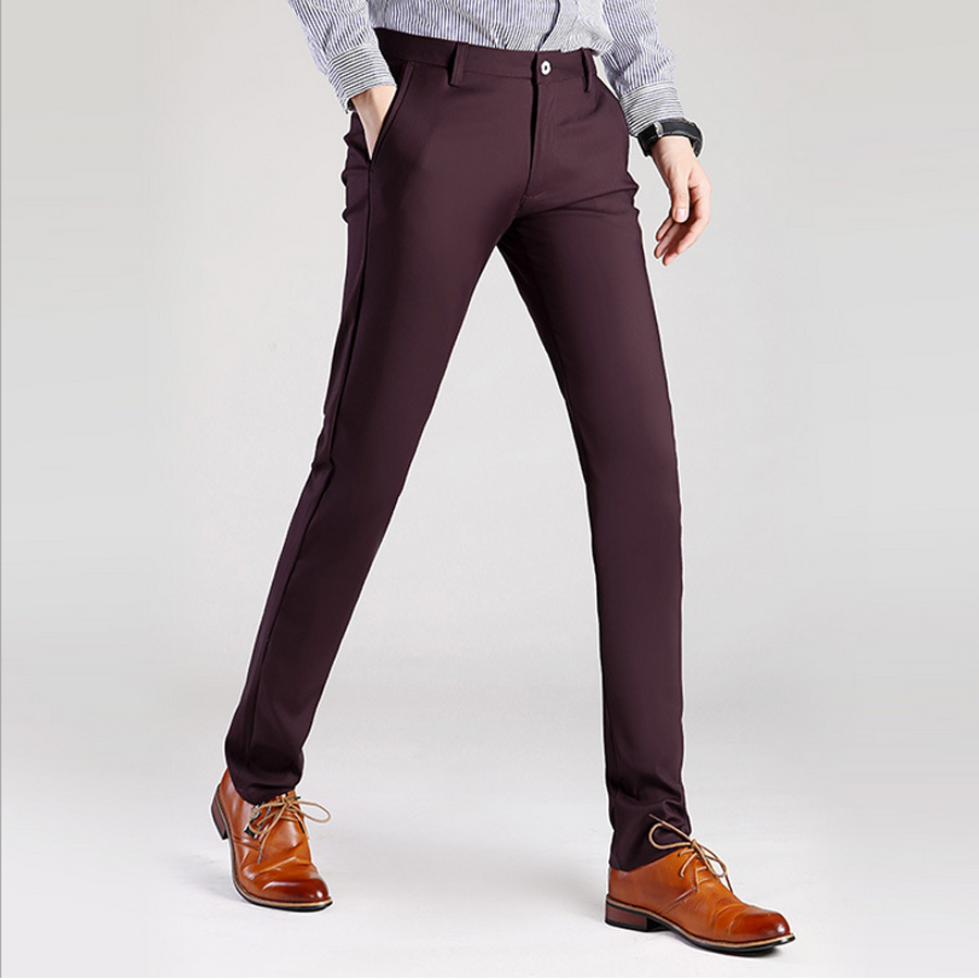 Wine Red Black Skinny Dress Pants Men Slim Fit Business Formal ...