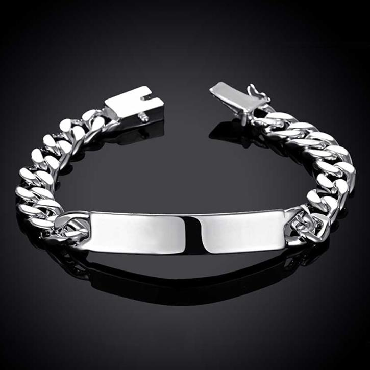 Jewelry & Watches Sterling Silver Gents Id Curb Bracelet