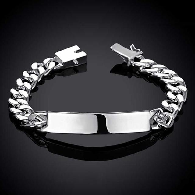 Lostpiece Fashion Men S 925 Sterling Silver Id Bracelet Curb Chain 10mm 8 3 Whole