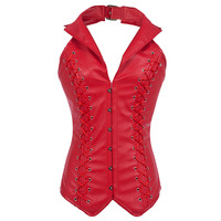 Red Faux Leather Halter Top Gothic Corselet Corset Sexy Espartilhos E Corpetes Corsets And Bustiers Corsetto Burlesque Costumes