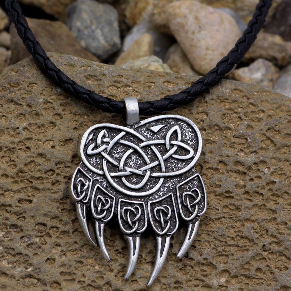 1pcs Viking Bear Pendant Necklace Ursa Talisman Animal Kalung Love Youe Shone Pagan Slavic Nordic Paw Claw Veles Symbol Pendantn Jewelry Brass