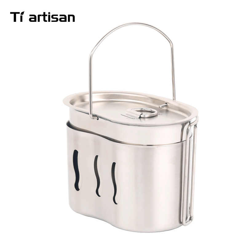 Tiartisan 屋外キャンプ 304 ステンレス鋼軍版水筒カップ弁当箱保釈ハンドルと薪ストーブセット