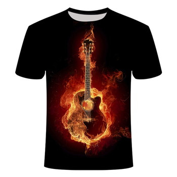 3d Tshirt Flame T-shirt Men Music Tshirts Casual Black T-shirts 3d Guitar Tshirt Printed Metal Anime Clothes Short Sleeve