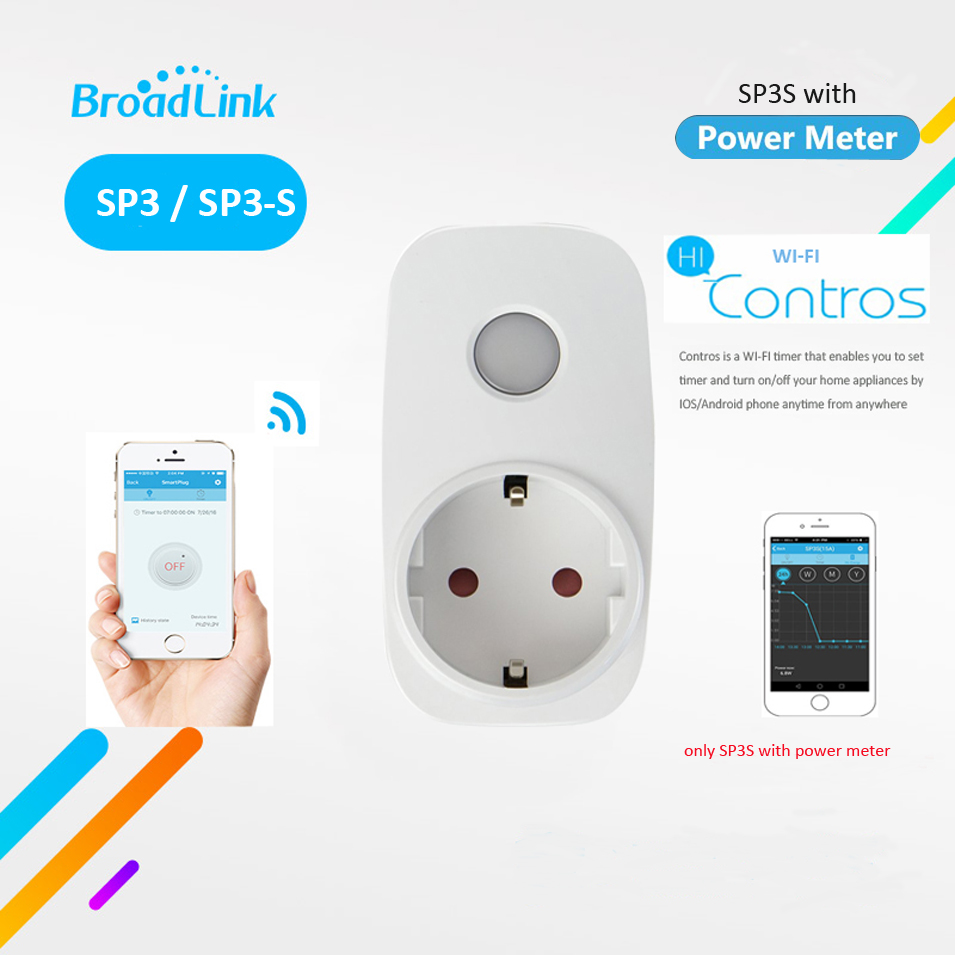 Broadlink SP3S w Power Meter / SP3 Contros EU Wireless WiFi Smart Socket Timer Power Plug 16A IOS Android Remote Control Outlet