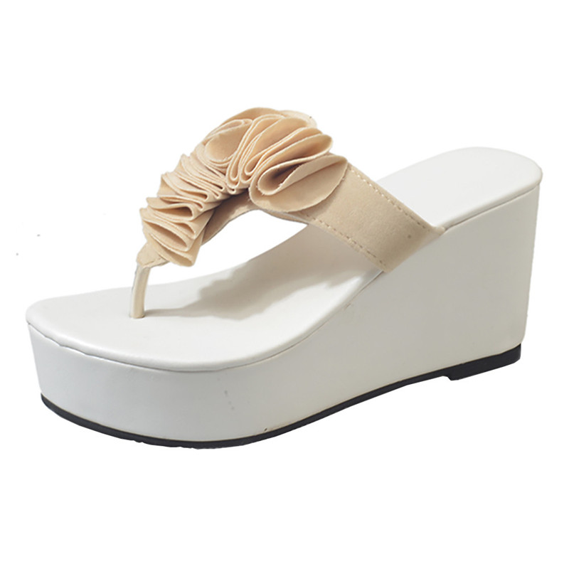Women Summer Thick-Bottom Sloped Slippers Flip Flops High-Heeled Wedges Platform Shoes Super Heel Comfortable Waterproof Sandles