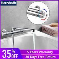 Bath Shower Faucet Tap Thermostatic Faucet Bathtub Tap Long Straight Spout Nozzle Bathroom Water Saving Dual Hole
