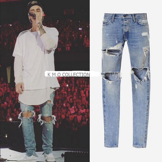 Mens Jumpsuit Designer RedLine Rock Star Justin Bieber Kanye West Skinny Ripped Denim Designer Jeans High Quality FOG new fashio hip hop men jeans high street fog fear of god knee hole destroy elastic feet slim jeans gd kanye west skinny trousers