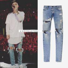 Mens Jumpsuit Designer RedLine Rock Star Justin Bieber Kanye West Skinny Ripped Denim Designer Jeans High