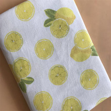 Cotton Linen Printed Fabric Patchwork Sewing Canvas DIY Quilting Material Lemon For Textile