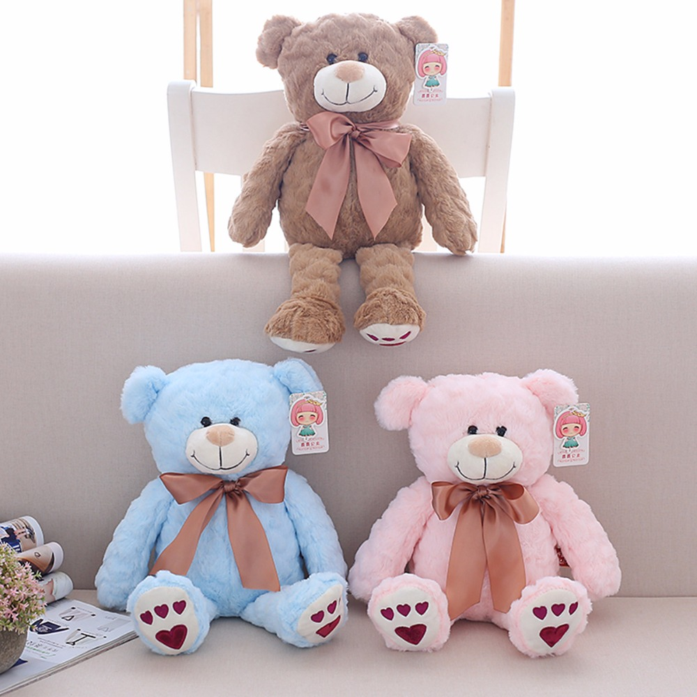 1pc 40cm Colorful Love Bear Plush Toys Stuffed Teddy Bear with Bowknot Cute Lovely Gift Doll for Girls Kids Valentine's Gift the lovely bow bear doll teddy bear hug bear plush toy doll birthday gift blue bear about 120cm