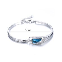 Fashion Blue Crystal Sterling Silver Bracelets Jewelry for Women