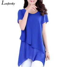 Summer Women Tops And Blouses 2017 New Short Sleeve Chiffon Blouse Shirt Casual Plus Size Women Clothing Top Femme Blusas Mujer