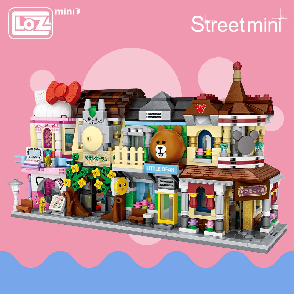 LOZ Block Street 3d Building Blocks House Cartoon Shop Model DIY Assembly Toys for Children Educational 1629-1632