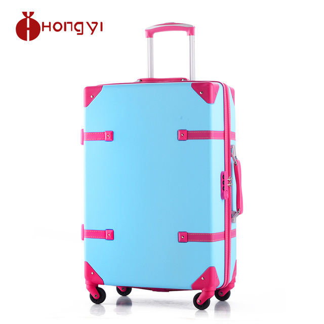 Women Retro Abs Spinner Wheels Color Block Trolley Luggage 20 24
