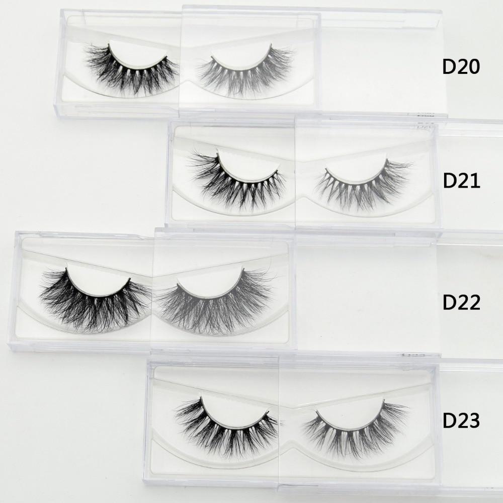 Lash 1 pair 3D Mink Eyelash Real Mink Handmade Crossing Lashes Individual Strip Thick Lash Fake