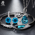 Top Quality Blue Austria Crystal Jewelry Set,3 Platinum Plated Fashion Ladies Jewelry Set OS44